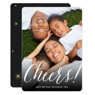 Cheers Simple Script Modern Holiday Photo Card