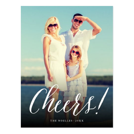 Cheers Simple Script New Year Holiday Photo Card