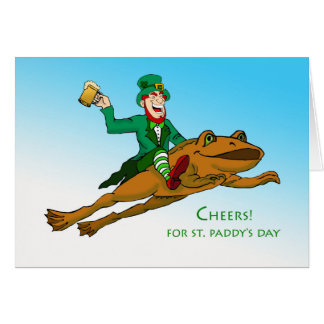 Cheers! St. Patrick's Day, Leprechaun and Frog Card