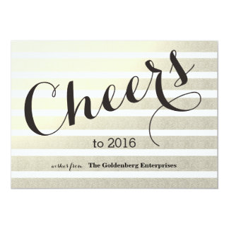 """Cheers To 2016 Gold Stripes With Calendar Business 5"""" X 7"""" Invitation Card"""