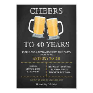 Cheers to 40 Years Birthday Chalk BBQ Invitation