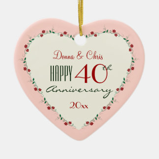 Cheers to 40th Wedding Anniversary Christmas Gifts Ceramic Heart Ornament
