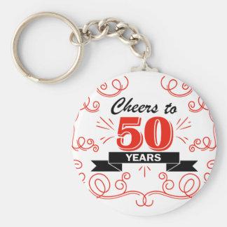 Cheers to 50 years basic round button keychain