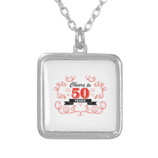 Cheers to 50 years silver plated necklace