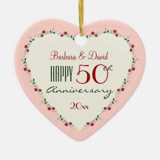 Cheers to 50th Wedding Anniversary Christmas Gifts Ceramic Heart Ornament