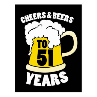 Cheers to 51 years postcard