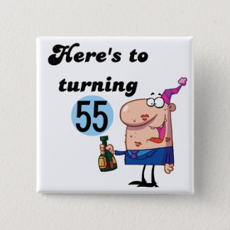Cheers to 55 Birthday T-shirts and Gifts 2 Inch Square Button