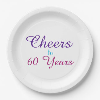 Cheers to 60 Years Birthday Party Paper Plate