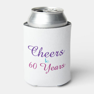 Cheers to 60 Years Pink Blue Purple Can Cooler