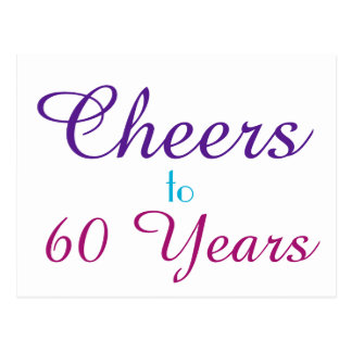 Cheers to 60 Years Purple Blue Pink Postcard