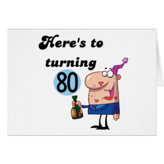 Cheers to 80 Birthday Tshirts and Gifts Card