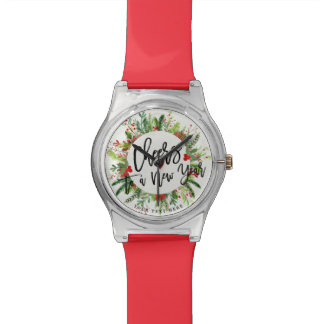 Cheers to a New Year Script Holly Wreath Greeting Watch