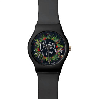 Cheers to a New Year Script Holly Wreath Greeting Wrist Watches