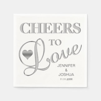 CHEERS TO LOVE Grey Silver Black White Wedding Paper Napkins