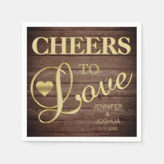 CHEERS TO LOVE Rustic Barnwood Heart Gold Wedding Paper Napkins