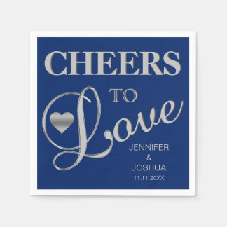 CHEERS TO LOVE Silver Navy Blue Nautical Wedding Napkin