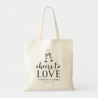Cheers to Love Wedding Favor Tote Bag