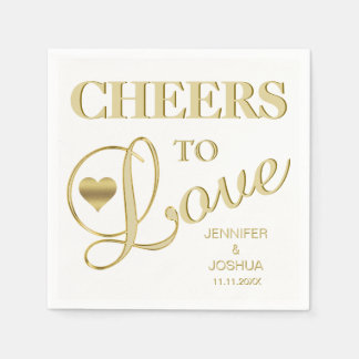 CHEERS TO LOVE White Heart Gold Wedding Disposable Napkin