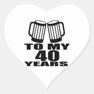 Cheers To My 40 Years Birthday Designs Heart Sticker