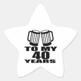 Cheers To My 40 Years Birthday Designs Star Sticker