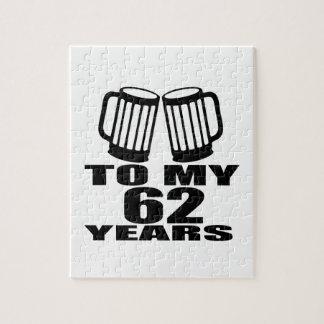 Cheers To My 62 Years Birthday Jigsaw Puzzle