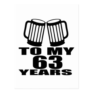 Cheers To My 63 Years Birthday Postcard