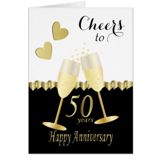 Cheers to Our 50th Golden Anniversary   DIY Text Card