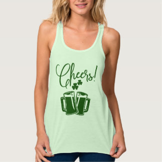 Cheers to St Patricks Day Green Beer Toast Tank Top
