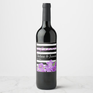 Cheers to the Bride and Groom - Purple Floral Wine Label
