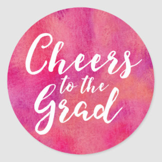 Cheers to the Grad Pink Watercolor Classic Round Sticker