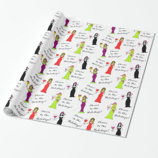 Cheers To The Holidays! Wine Women Wrapping Paper