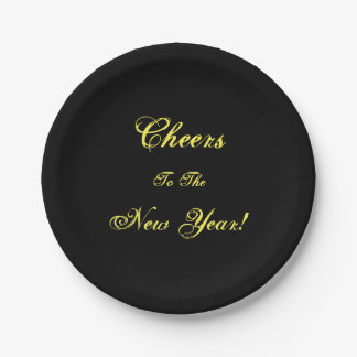 Cheers to the New Year! Black Paper Party Plates 7 Inch Paper Plate