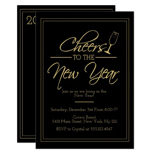 Cheers to the New Year, Elegant Gold Invitation