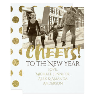 Cheers to the New Year Gold & White Photo Card