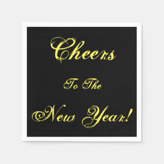 Cheers to the New Year Party Paper Black Napkins Disposable Napkins
