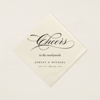 Cheers To the Newlyweds Typography Script Wedding Paper Napkin