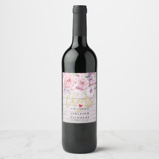 Cheers To The Wedding Watercolor Boho Floral Wood Wine Label