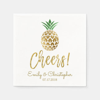 Cheers Tropical Hawaiian Pineapple Wedding White Disposable Napkins