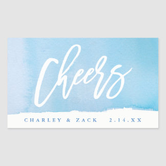 Cheers Watercolor Mini Wine, Mini Champagne Label