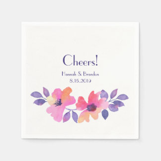 Cheers Watercolor Spring Floral Wedding Disposable Napkin