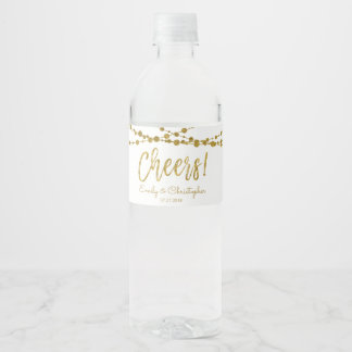 Cheers White and Gold Foil String Lights Water Bottle Label