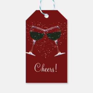 Cheers Wine Christmas Gift Tags