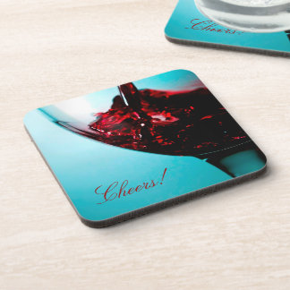 Cheers Wine Drink Coaster Red Glass Black Blue