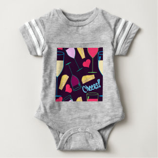 Cheers Wine Party Pattern Baby Bodysuit