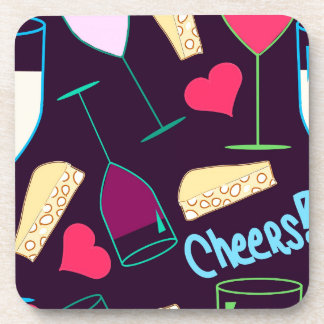 Cheers Wine Party Pattern Coaster