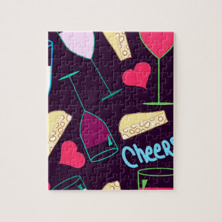 Cheers Wine Party Pattern Jigsaw Puzzle
