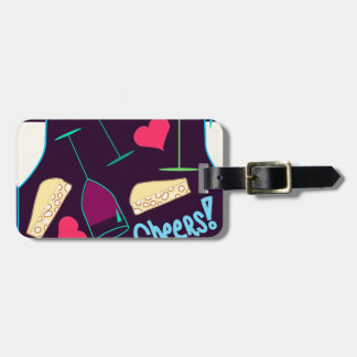 Cheers Wine Party Pattern Luggage Tag