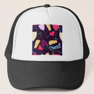 Cheers Wine Party Pattern Trucker Hat