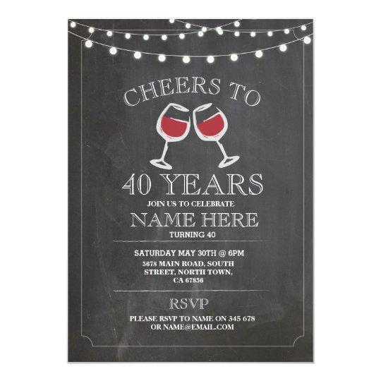 Cheers Wine Tasting Chalk Birthday Party Invite