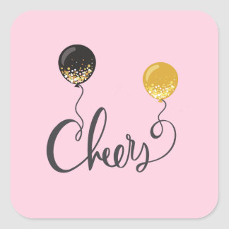 Cheers with Balloons Square Sticker